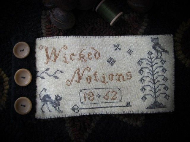 Wicked Stitches Primitive Sewing Book Pattern Counted Cross Stitch