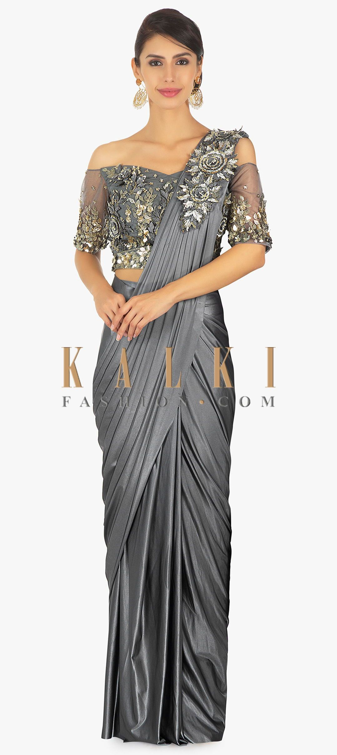 1d69684ef9cb Buy Online from the link below. We ship worldwide (Free Shipping over US 100)  Click Anywhere to Tag Wrap around lycra saree with presstitched pleats and  ...