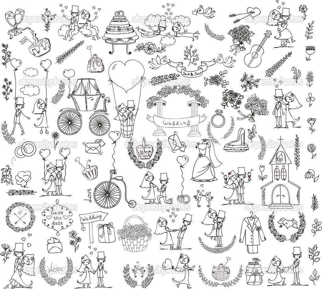 Doodle Bruiloft Google Zoeken Illustraties Zeefdruk Kleurplaten