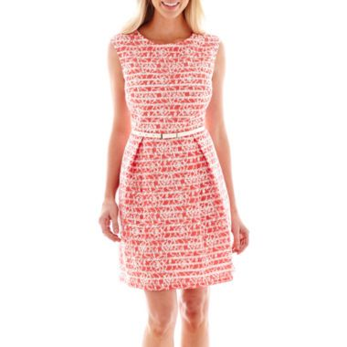 Studio 1® Sleeveless Box-Pleat Stripe-and-Lace Print Dress - Petite  found at @JCPenney