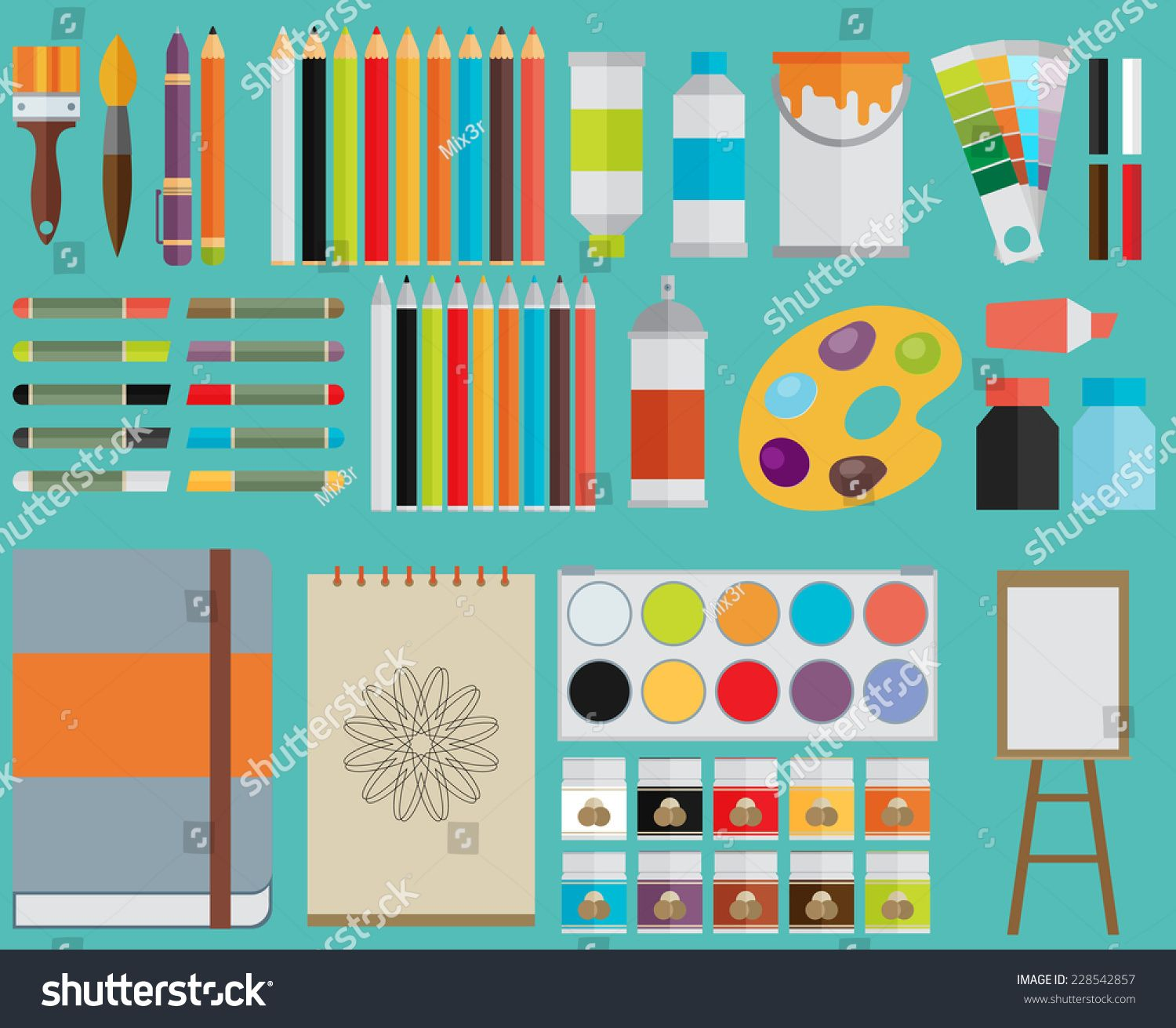 Colored Flat Design Vector Illustration Icons Set Of Art Supplies