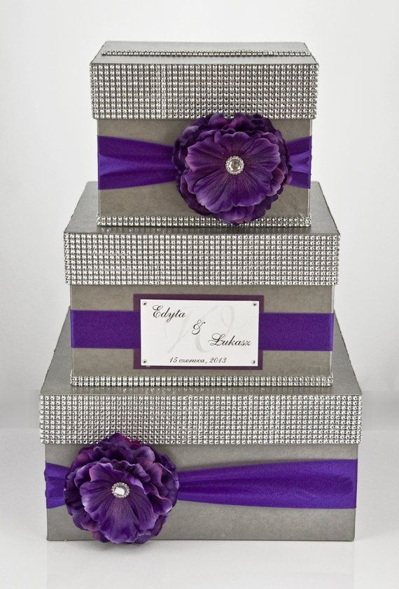 Wedding Card Box Holder Money 3 Tier Personalized Purple
