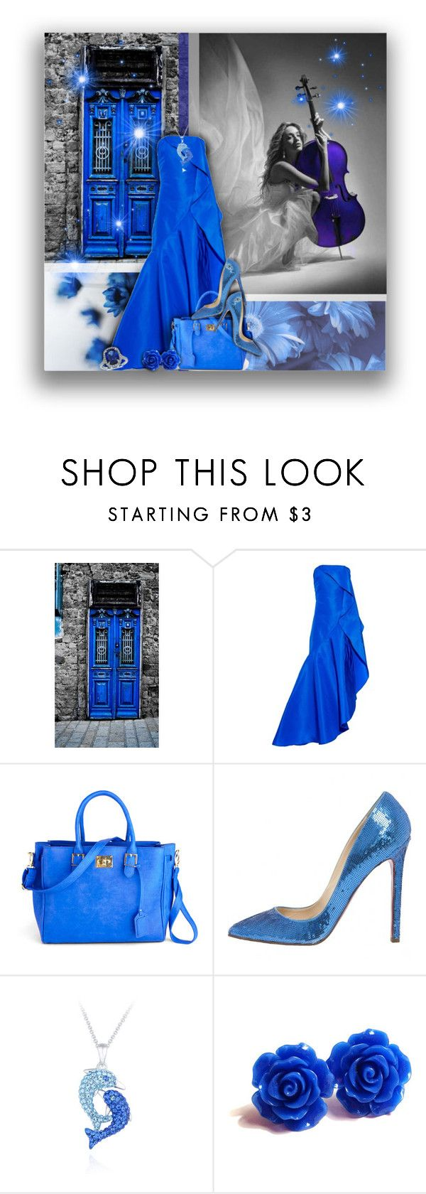 """""""Blue Gown"""" by superstylist ❤ liked on Polyvore featuring Rosie Assoulin, Christian Louboutin, Blue Nile, women's clothing, women, female, woman, misses and juniors"""