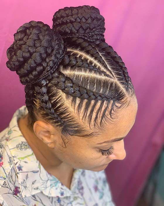 23 Braided Bun Hairstyles For Black Hair Boxbraidsmaxx In 2020 Natural Hair Braids Kids Braided Hairstyles Braided Hairstyles