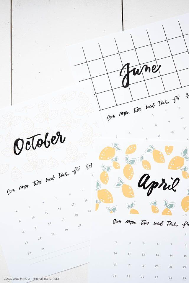 Printable Calendar, 2016 Calendar, freebies, download, hand - printable calendars