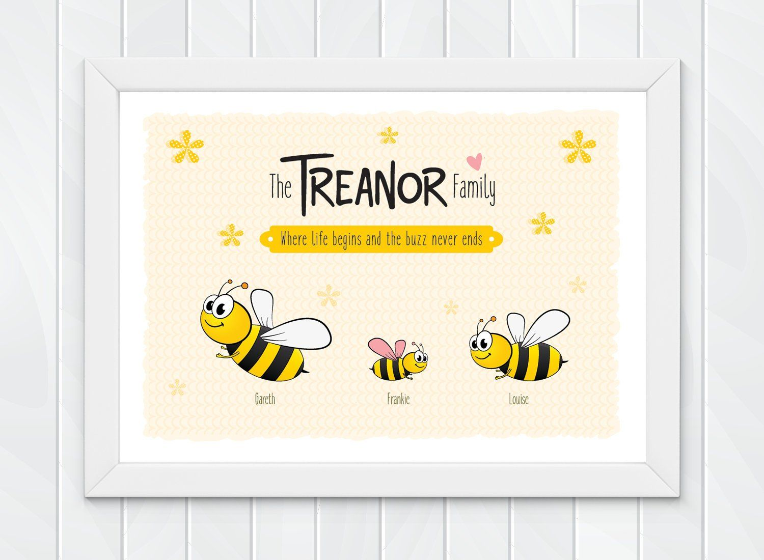 Personalised Family Gift Print Custom Family Art Bumble Bee Etsy Custom Family Art Personalised Family Gifts Bee Wall Art