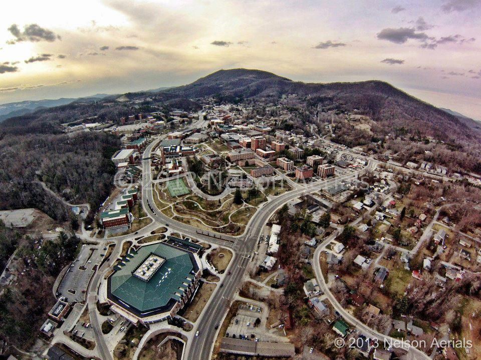 shot of App State's campus. App state, College