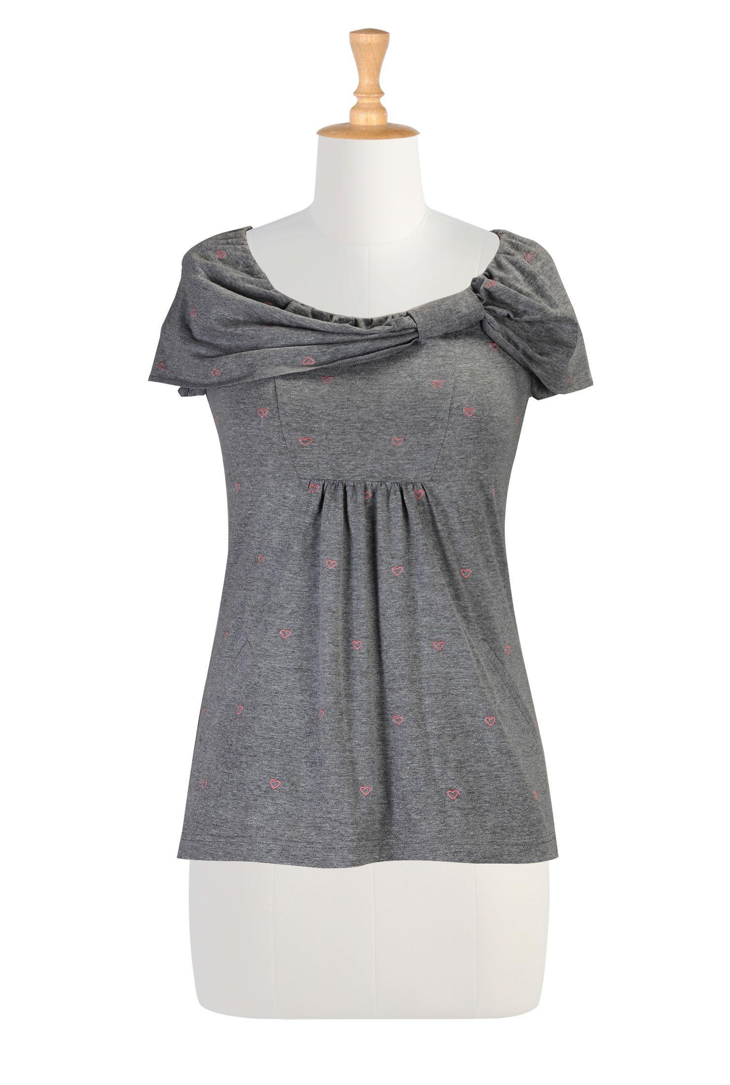D Collar Heart Knit Tunic