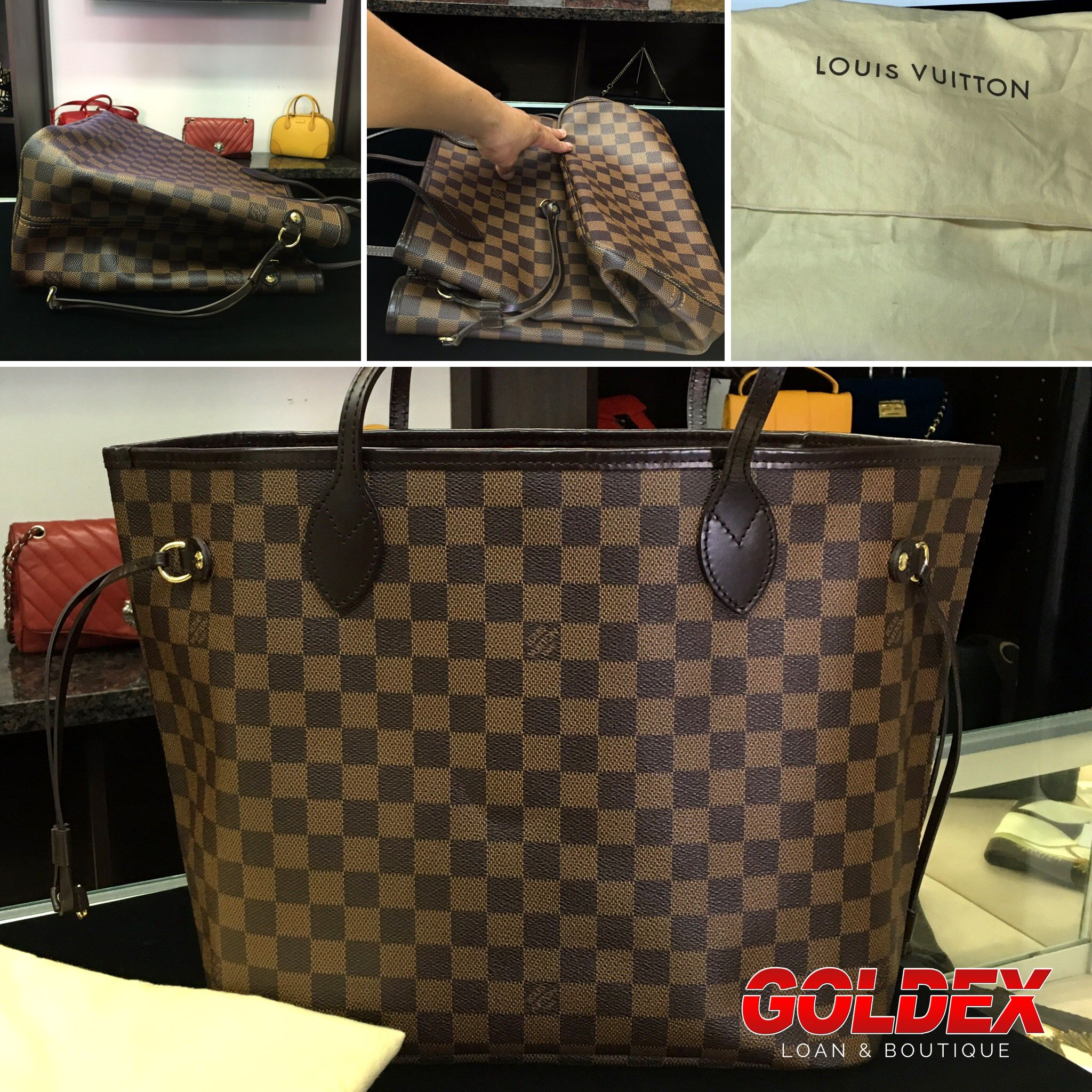 2cf5343c662e How To Fold   Store Louis Vuitton Neverfull 1. Fold in corners 2. Push  drawstring runner in so corners stayed folded in 3. Fold the bottom 4 Store  inside ...