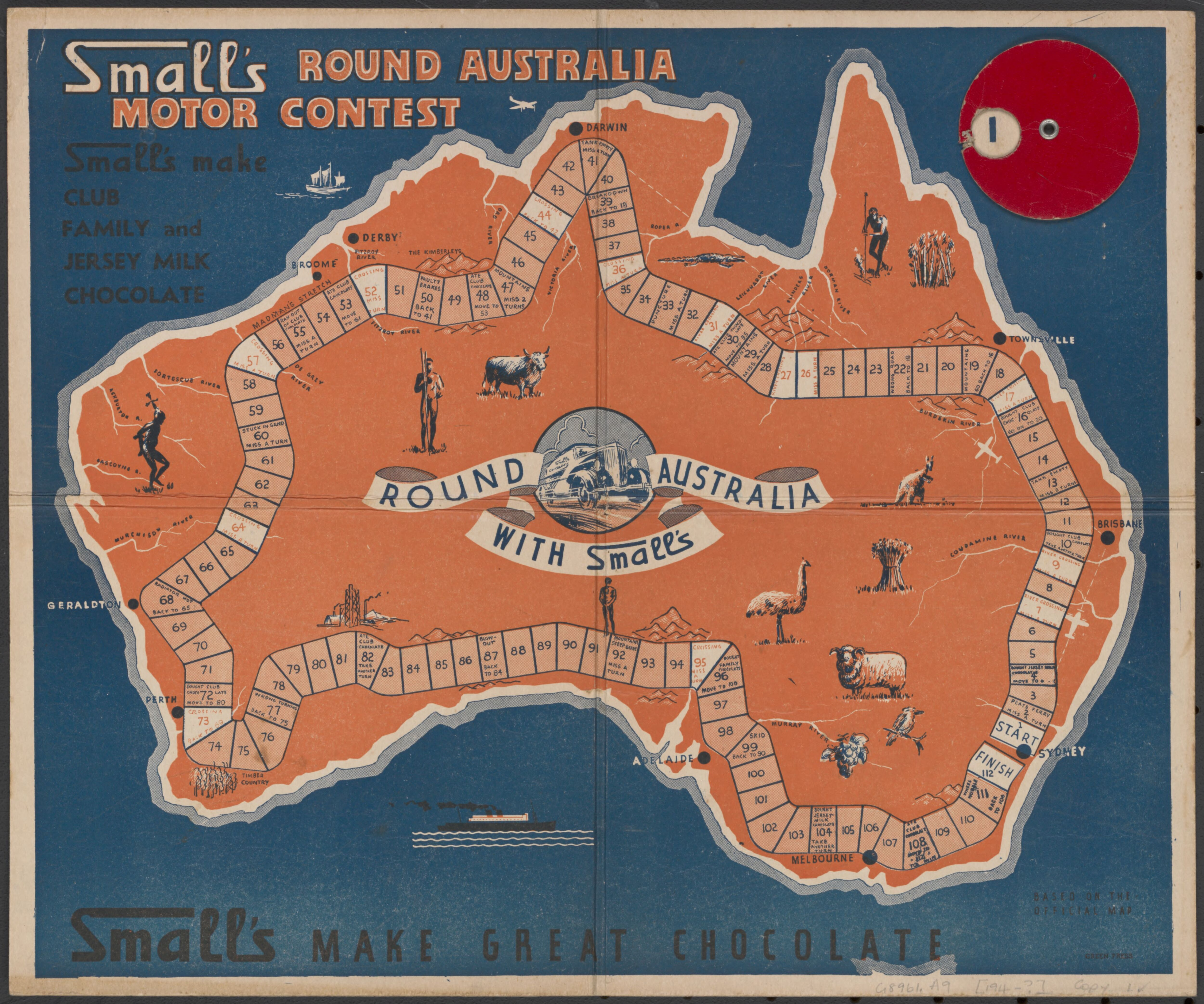 smalls round australia motor contest board game map of australia