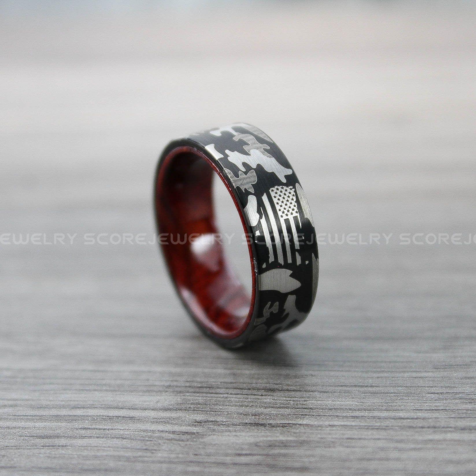 Camo Ring, American Flag Wedding Band, Black Tungsten Band