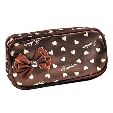 1pcs Spot Plastic And Leather Cosmetic Bag With Bowknot(22x14x4cm,Random Color)