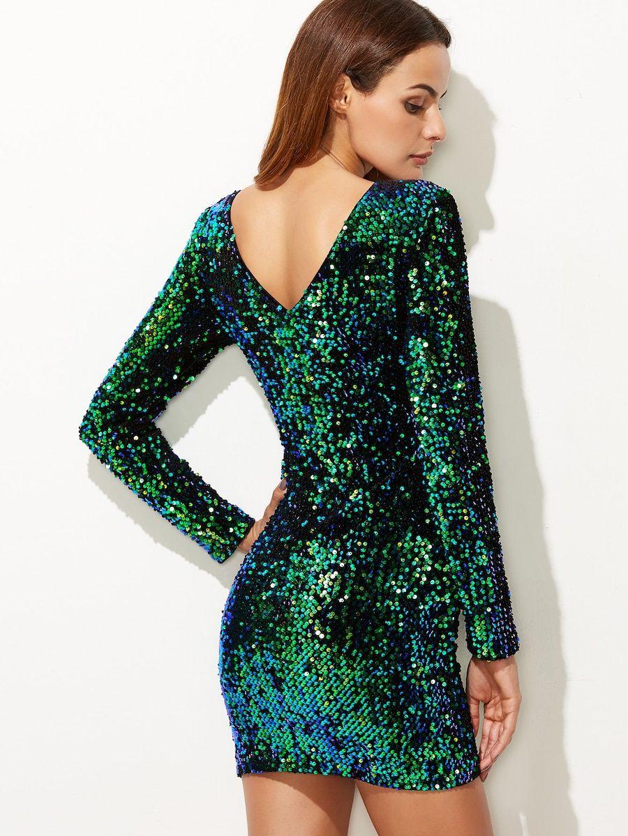 3a81224890 Vestido ajustado de lentejuelas - verde -Spanish SheIn(Sheinside ...