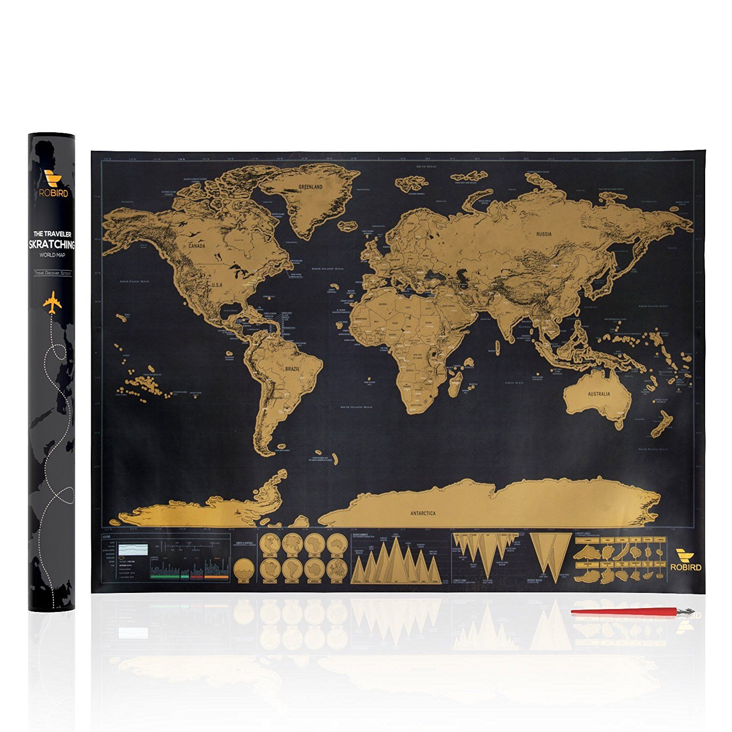 Amazon robird premium quality world traveler map large black amazon robird premium quality world traveler map large black gold edition world map poster 325 inches x 234 inches perfect gift for any gumiabroncs Images