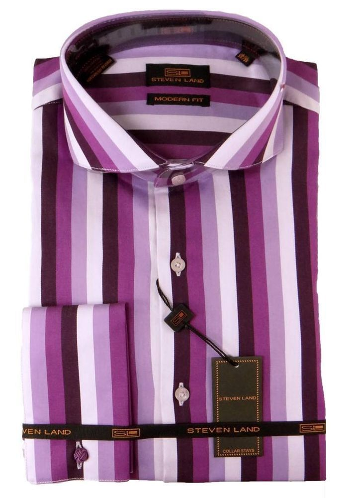 New Men's Steven Land Striped Purple French Cuffs Dress