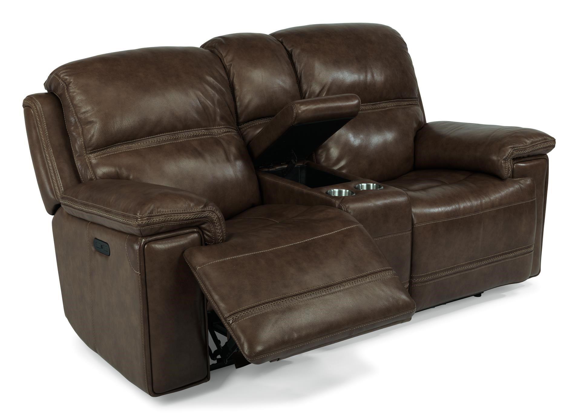 Groovy Latitudes Fenwick Recliner Leather Power Console Loveseat W Machost Co Dining Chair Design Ideas Machostcouk