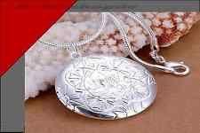Halskette Medaillon Silber plt.  Herzkette Schmuck  Kettenecklace silver K43
