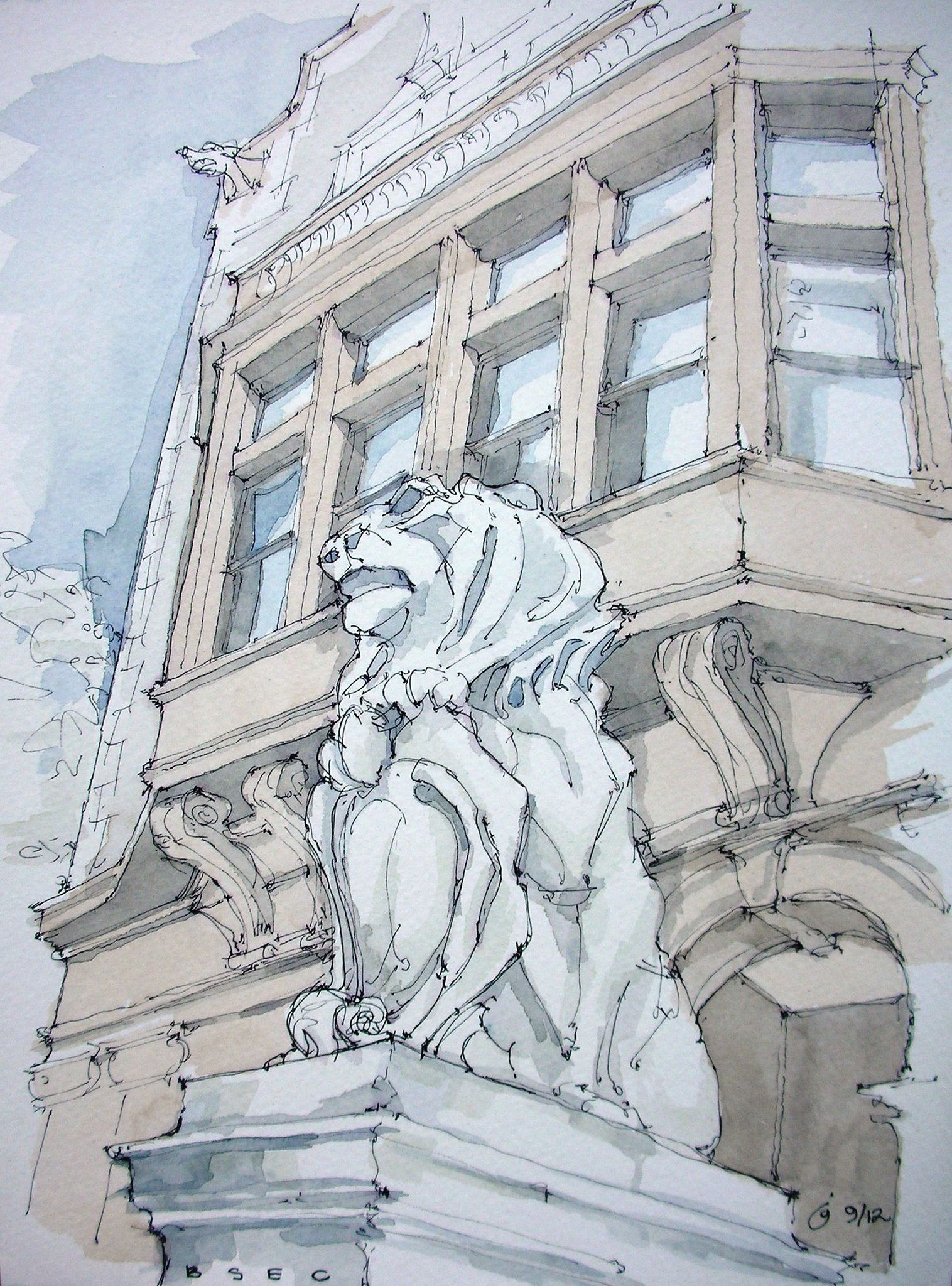 https://flic.kr/p/d4wt9d | Brooklyn Society for Ethical Culture | Prospect Park West, Park Slope, Brooklyn. Ink and watercolor freehand sketch on location. Lion on entry pier with front facade of building rising behind. Nice to be back sketching, finally.
