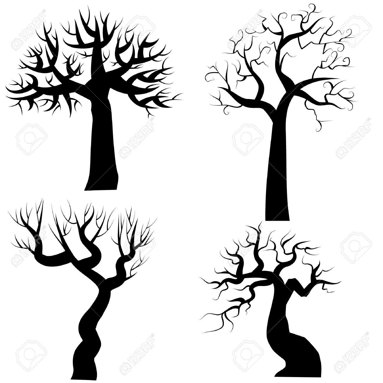 silhouettes of spooky halloween trees royalty free cliparts - Black Halloween Tree