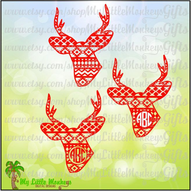 Christmas Aztec Deer Monogram Base Designs Digital Clipart Instant Download SVG DXF EPS Jpeg Png - pinned by pin4etsy.com