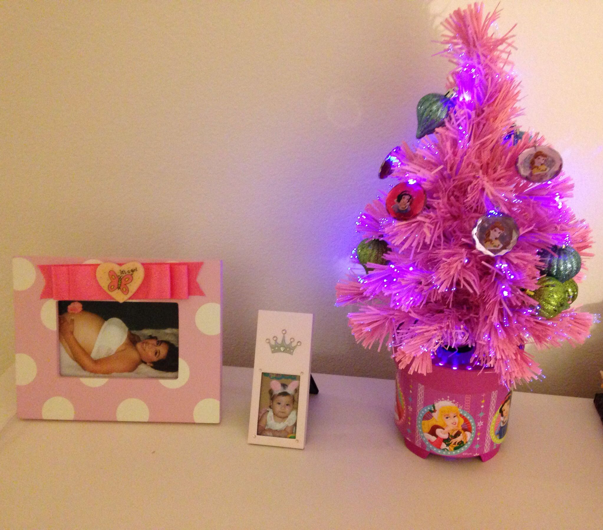 Daughters Disney Princess Christmas Tree! It's a beautiful PINK Christmas  tree that changes color and has ornaments with Disney Princesses!