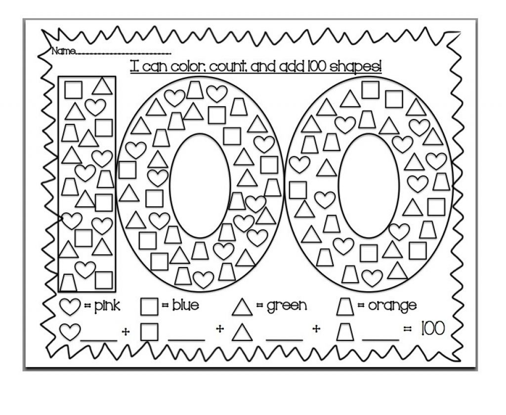 100th Day Of School Coloring Pages Printable Kids Super