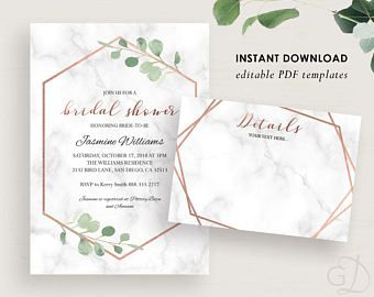 Greenery Bridal Shower Invitation Eucalyptus Invite