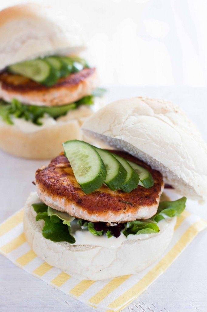 For the Salmon Burger Patties:  320g skinless salmon fillet, cubed  1 tsp wasabi  1 tbsp lemon juice  1 tbsp chopped fresh dill  zest of ½ lemon  2 tbsp (olive) oil for frying