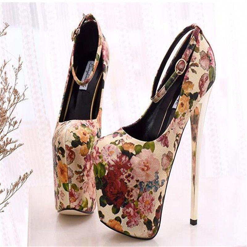 Women/'s 19cm Super High Heels Peep Toe Stilettos High Platform Ankle Strap Pumps