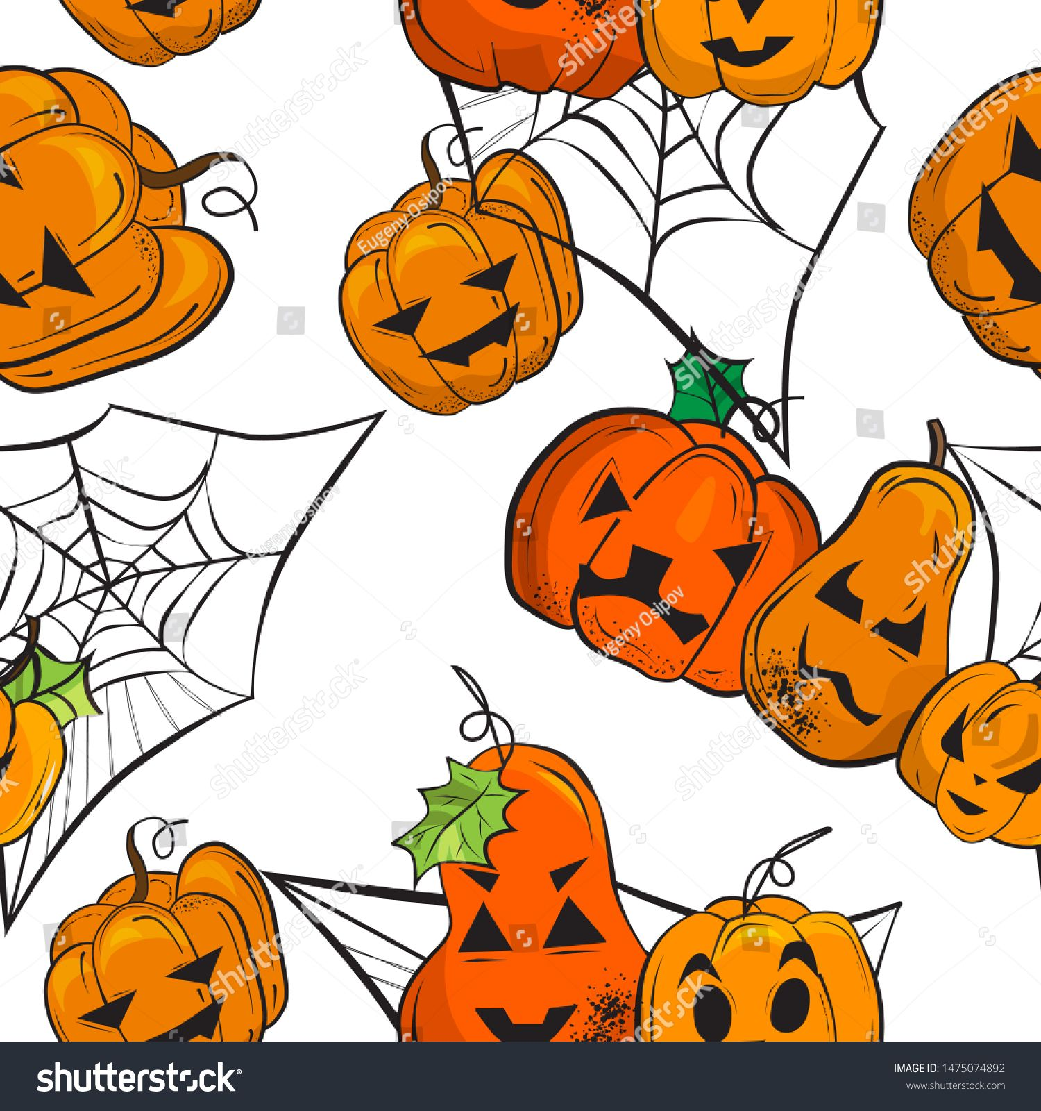 Halloween pattern.Big and small pumpkins with scary faces