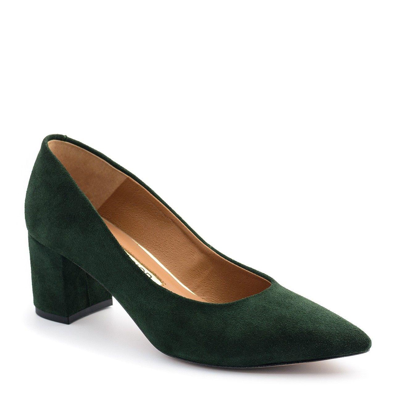 Zielone Zamszowe Czolenka Na Niskim Slupku 110c Nescior Sklep Firmowy Heels Shoes Heeled Mules
