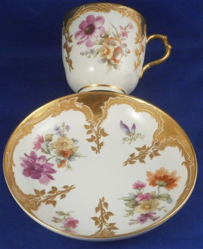 Rare Art Nouveau KPM Berlin Porcelain Neuzierat Cup & Saucer Porzellan Tasse