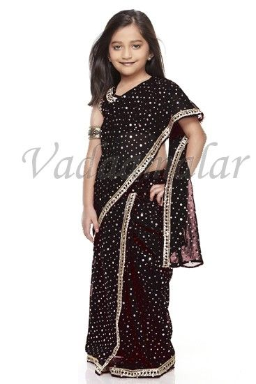 Little Girls Children Kids Saree Ready To Wear Sarees