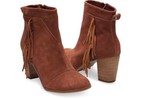 Cognac real leather fringe booties Toms brand new real suede fringe on  outsides cognac coloring heeled booties TOMS Shoes Ankle Boots & Booties
