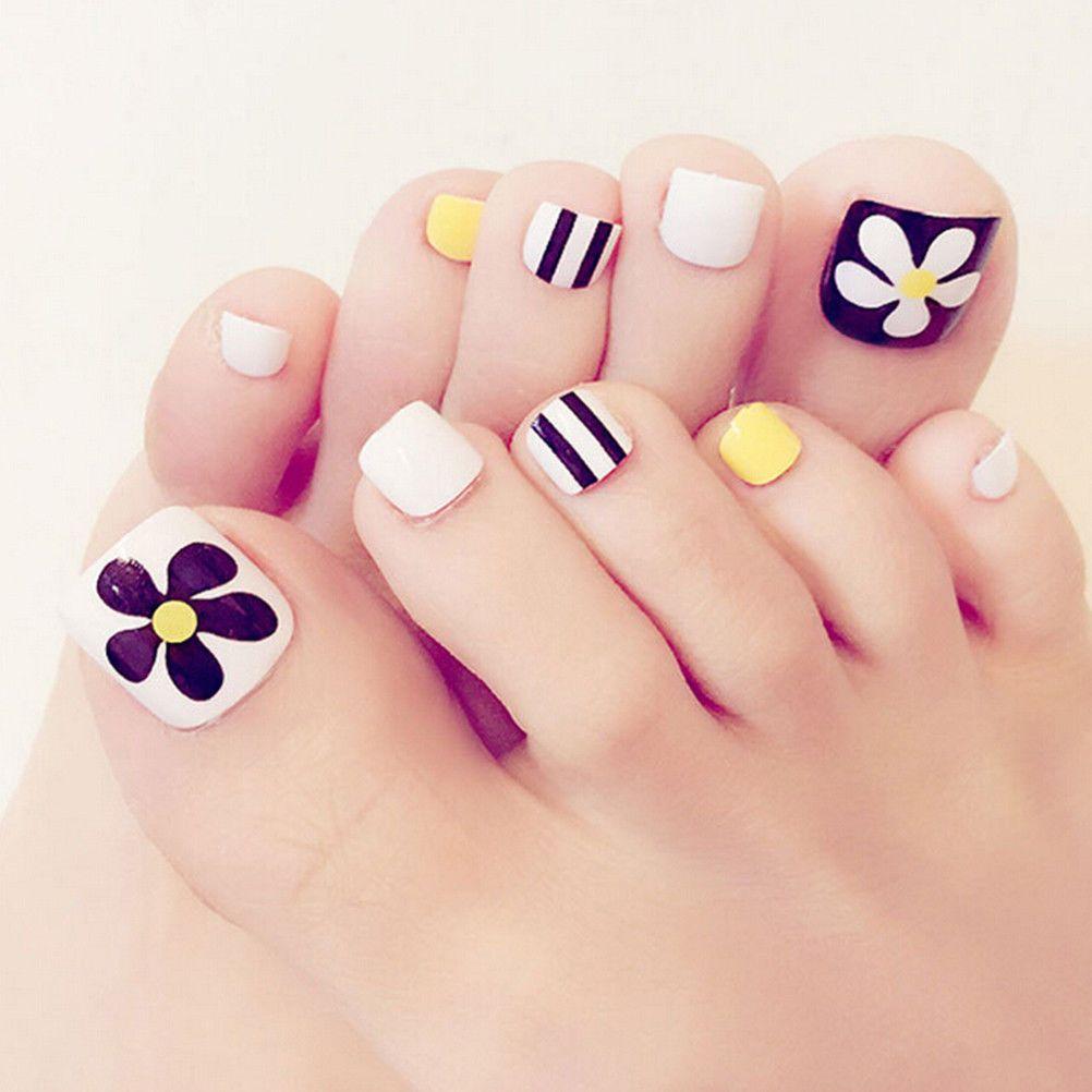 $2.34 - 24Pcs Foot False Nail Tips Flower Fake Toes Nails With Glue ...