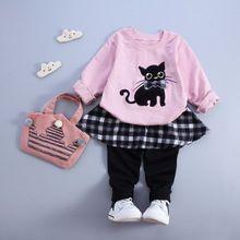 Children spring autumn baby girls christmas outfits clothing sets kids 2pcs suit baby cat cotton sport suit sets t-shirt+pants(China (Mainland))