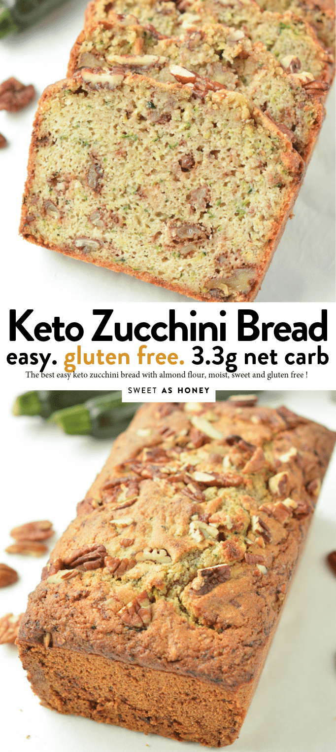 KETO ZUCCHINI BREAD with almond flour gluten free