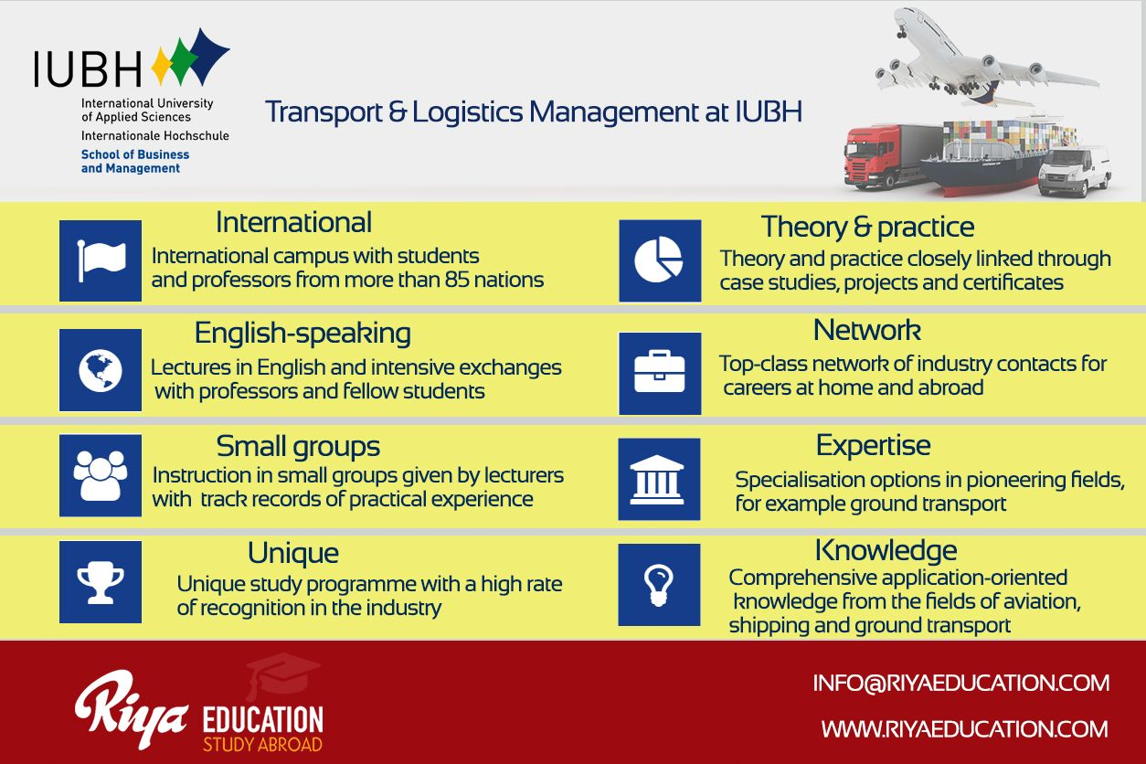 Study Transport & Logistics Management at IUBH. Get in touch with Riya Education. Visit our website for contact details.
