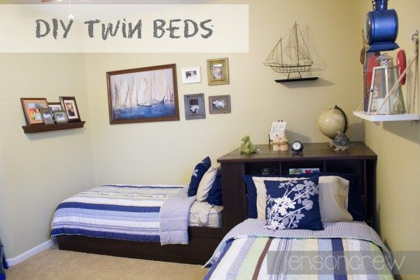 Boy Bedroom Storage: Twin Beds DIY... Just Like Pottery Barn Corner Storage Bed