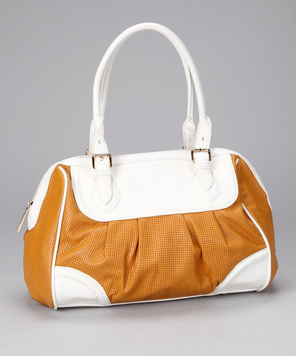 Love this Mustard & White Shoulder Bag by Tiffany & Fred on #zulily! #zulilyfinds