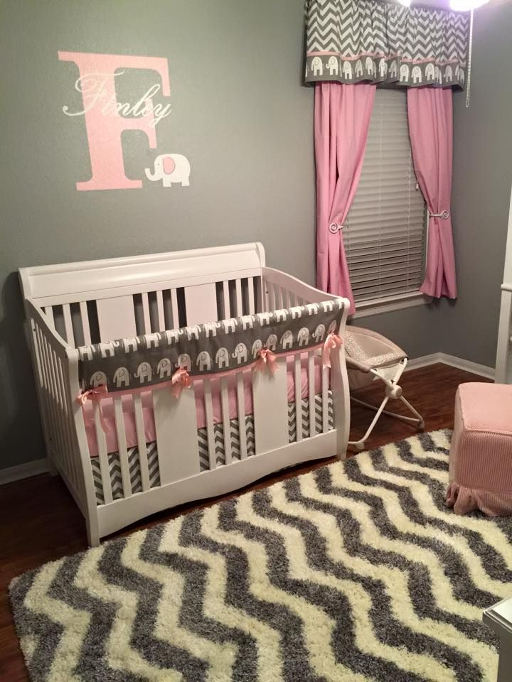 Pink And Grey Elephant Nursery Themed