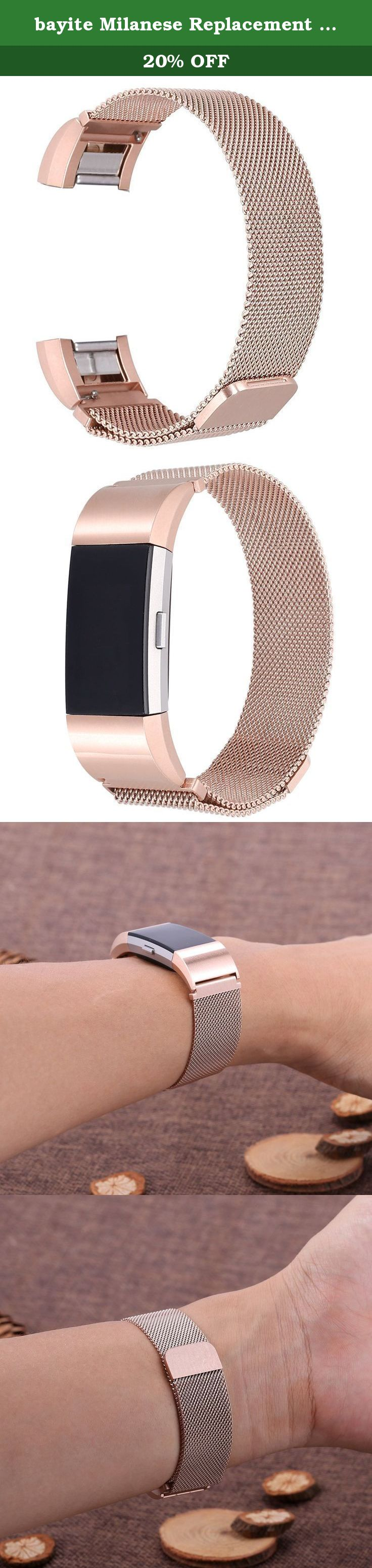 Bayite milanese replacement bands for fitbit charge rose gold