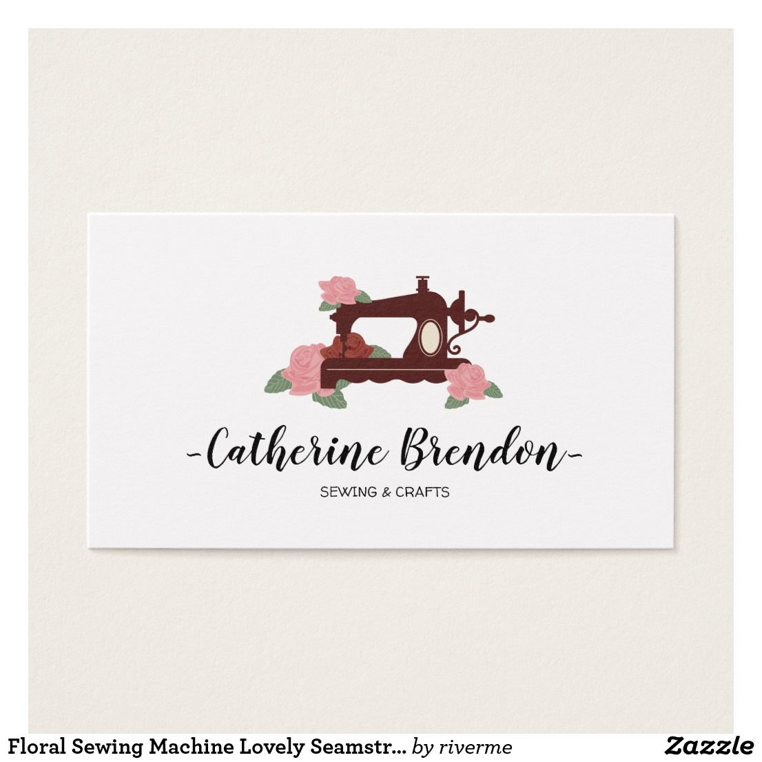 Floral Sewing Machine Lovely Seamstress Business Card   Business ...