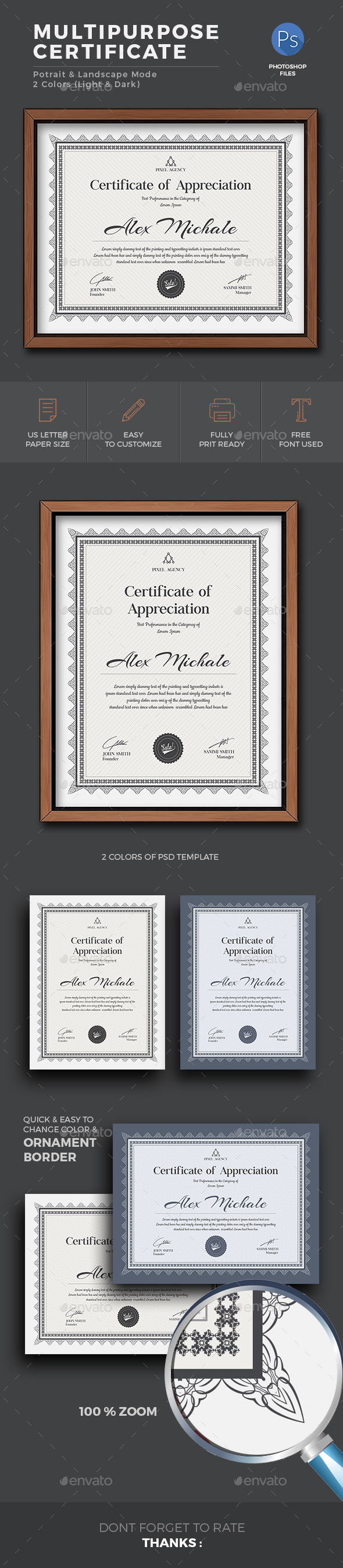 Certificate   Certificate  Graphics and Template Certificate Template PSD