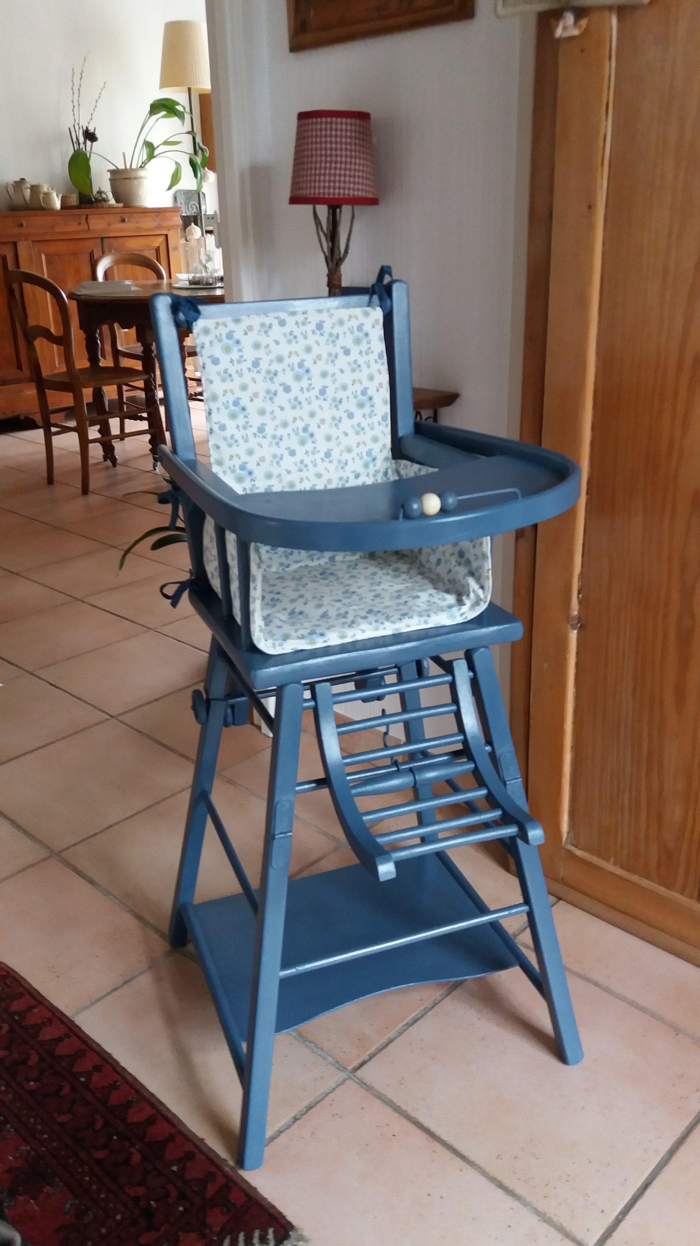 Relooker Une Chaise Haute En Bois chaise haute relookée (peinture libéron, coussin modèle