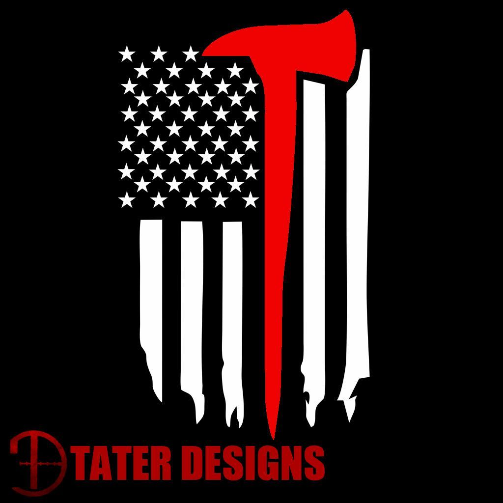 Thin red line flag with ax decal
