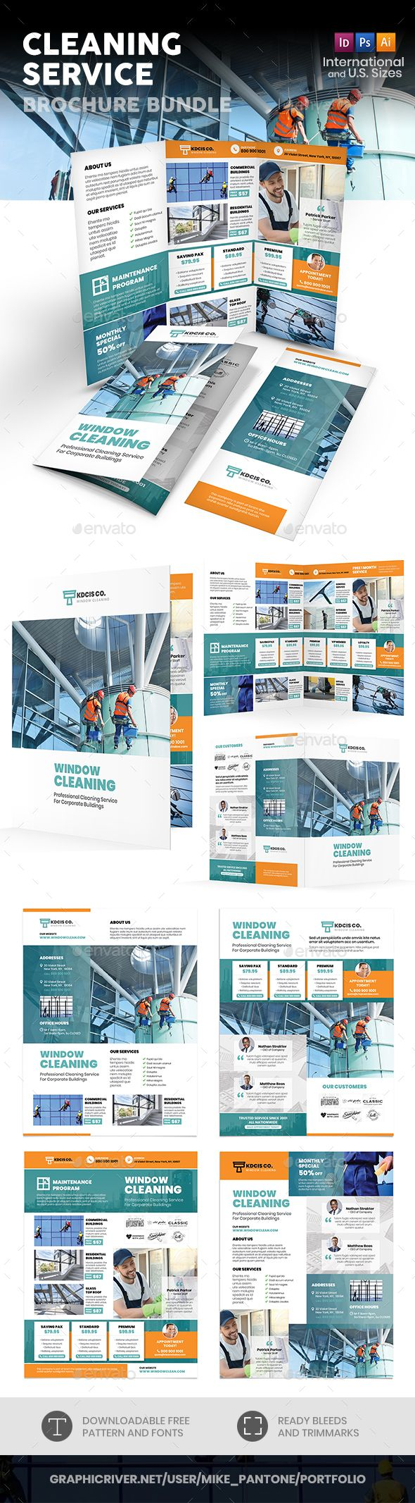 Cleaning Service Print Bundle Fully Editable Professional Template