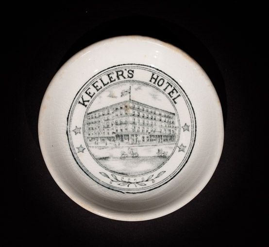 Keeler's Hotel, Albany, New York  Butterpat  by John Maddocks & Sons, Ltd. For Kniffen & Tooker, circa 1900-1930s Offered by Track 16. http://www.track16.com #restaurantware #restaurantchina