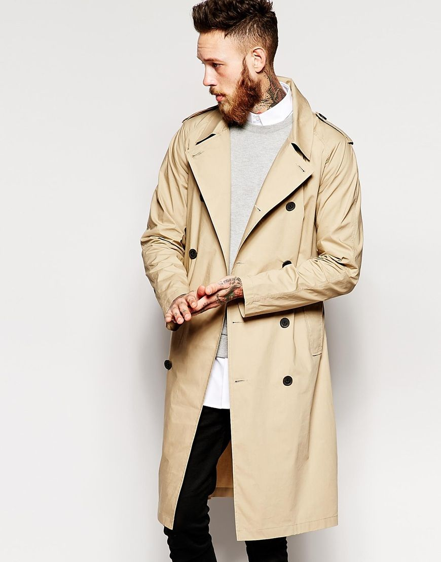 Image 1 of ASOS Lightweight Trench Coat In Stone