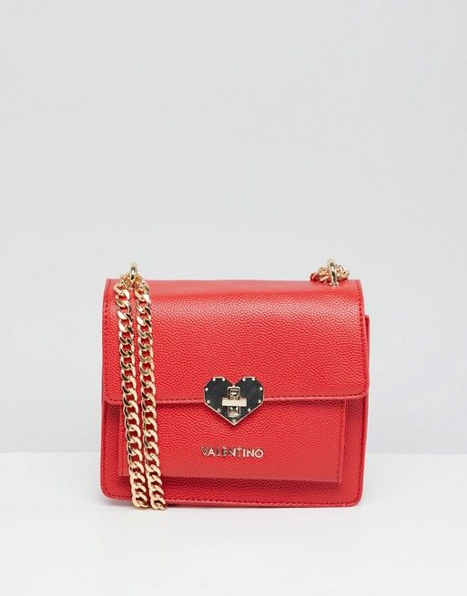 56098fd314ab Valentino by Mario Valentino Red Heart Lock Detail Mini Cross Body Bag